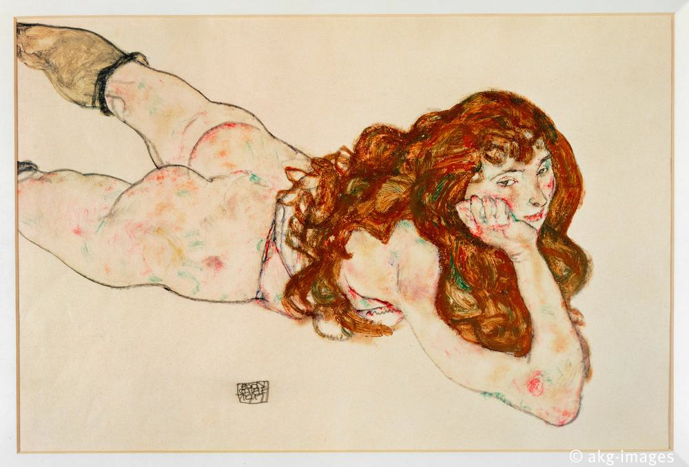 Nude Lying on Her Stomach / Schiele