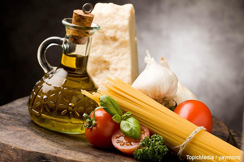 photo of different ingredients for preparing pasta with tomato sauce