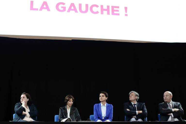 Emmanuelle Cosse, Marisol Touraine, Najat Vallaud Belkacem, Stephane Le Foll, Jean-Michel Baylet-Meeting ÒEh oh left!Ó gathering around Stephane Le Foll friends of Franois Hollande to defend the social assessment of the Head of the State, Paris, France, on April 25, 2016. Photo par Stephane Lemouton/Imago PUBLICATIONxNOTxINxFRA - Emmanuelle COSSE Marisol Touraine Najat VALLAUD Belkacem Stephane Le foll Jean Michel Baylet Meeting  Oh left Ó Gathering Around Stephane Le foll Friends of Franois Hollande to Defend The Social Assessment of The Head of The State Paris France ON April 25 2016 Photo Par Stephane  Imago PUBLICATIONxNOTxINxFRA