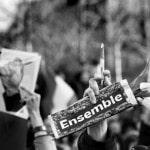 Frankreich, Paris, 11.01.2015, Solidaritätskundgebung mit den Opfern der Terroranschläge der vergangenen Woche, u.a. auf die Satirezeitung Charlie Hebdo und den koscheren Supermarkt, Hunderttausende demonstrieren in Paris und trauern mit den Angehörigen der Opfer; Foto: Regina Schmeken