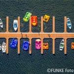 Bootsliegeplätze, Tretbootverleih, Unterbacher see, Badesee, Düsseldorf, Rheinland, Nordrhein-Westfalen, Deutschland