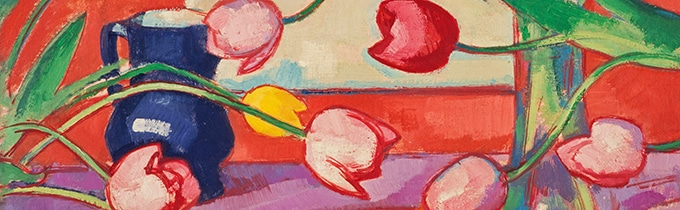 "huile sur toile Peploe, Samuel John Objektmaß 61 x 51 cm Titre anglais : Tulips - The Blue Jug. Vers 1919 Inventar-Nr.: ""GMA29;756"", Artist: Peploe, Samuel John"