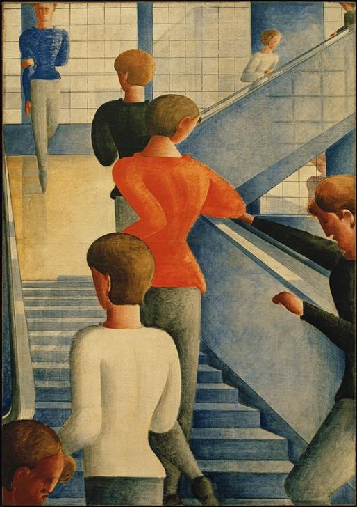 """Schlemmer, Oskar. 1888–1943. / """"Bauhaustreppe"""", 1932. Öl auf Leinwand, 162,3 × 114,3 cm. New York, Museum of Modern Art."""
