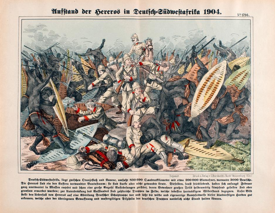 """Deutsch-Südwestafrika, Hereroaufstand 1904/5. """"Aufstand der Hereros in Deutsch-Südwestafrika 1904"""". Lithographie, koloriert. Druck: C. Burckurdt's Nachf., Weissenburg (Nr. 1796)."""