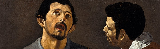 Gemälde / Leinwand (1616 - 1620) von   Diego Rodriguez de Silva y Velázquez [1599 - 1660]   Bildmaß 88 x 111 cm  Detail; Die musizierenden Männer  Inventar-Nr.: 413F  Systematik:   Kulturgeschichte / Musik / Barock  / allgemein, Artist: Diego Rodriguez de Silva y Velázquez