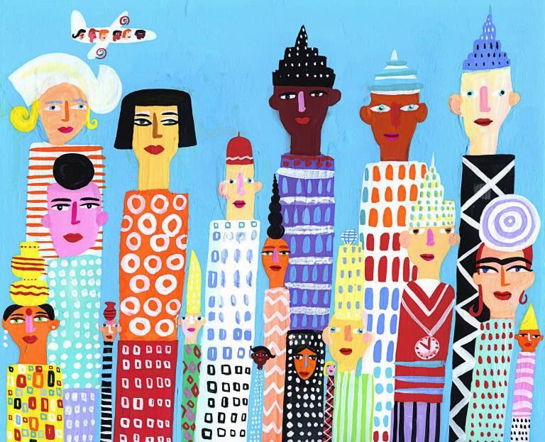 Hochhäuser mit Gesichtern von verschiedenen Völkern PUBLICATIONxINxGERxSUIxAUTxONLY ChristopherxCorr 20120126 High-rise buildings with Faces from different Peoples PUBLICATIONxINxGERxSUIxAUTxONLY ChristopherxCorr 20120126