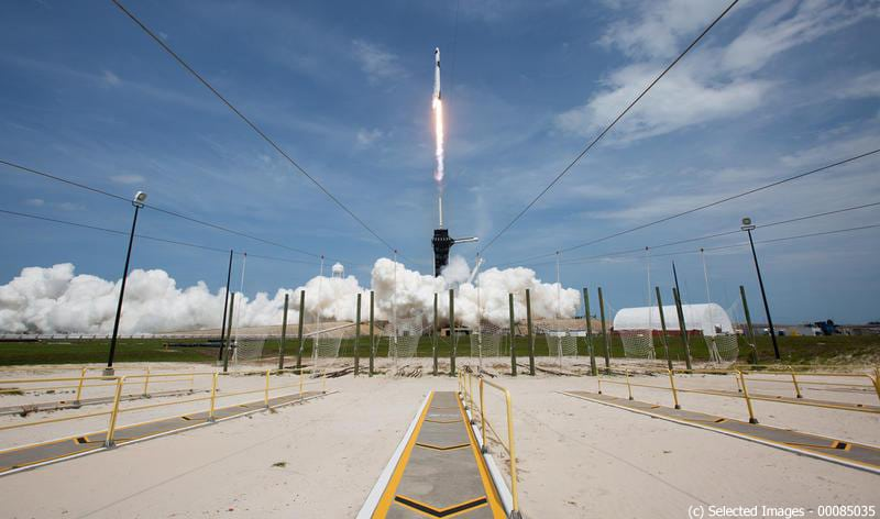 May 30, 2020, Cape Canaveral, Florida, USA: A SpaceX Falcon 9 rocket carrying the company's Crew Dragon spacecraft is launched on NASA's SpaceX Demo-2 mission to the International Space Station with NASA astronauts Robert Behnken and Douglas Hurley onboard. NASA's SpaceX Demo-2 mission is the first launch with astronauts of the SpaceX Crew Dragon spacecraft and Falcon 9 rocket to the International Space Station as part of the agency's Commercial Crew Program. (Credit Image: � Bill Ingalls/NASA/ZUMA Wire/ZUMAPRESS.com)