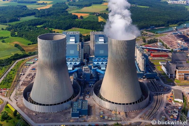 Neubau des Kraftwerks Westfalen im Ortsteil Schmehausen in Hamm im Bundesland Nordrhein-Westfalen