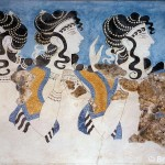 Ladies of the Minoan Court, from the Palace of Knossos, Minoan, c.1500 BC (fresco painting)