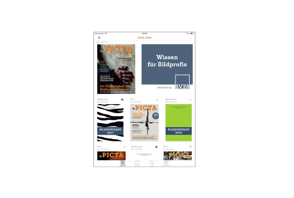 Das mobile Digital-Paket für iOS und Android: Bildhonorare 2018 ePaper + PICTA-Magazin ePaper