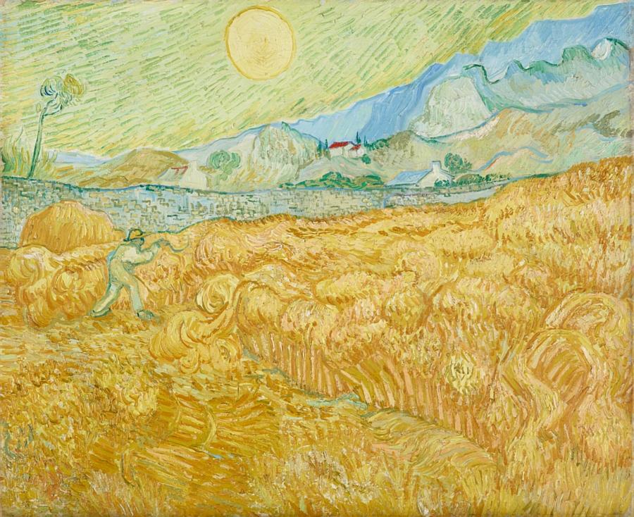 Künstler: Gogh, Vincent van,1853-1890 Titel: Die Ernte, Kornfeld mit Schnitter (La moisson). 1889 Technik: Öl auf Leinwand Maße: 59,5 x 72,5 cm Standort: Essen, Museum Folkwang
